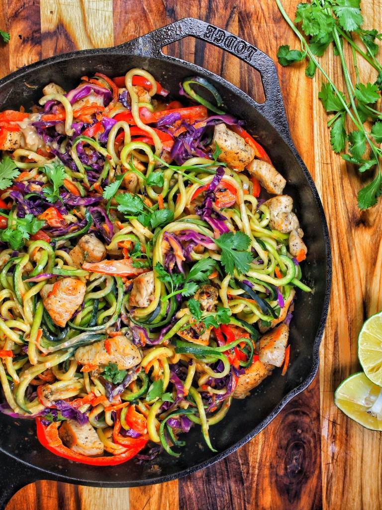 Spicy Thai Peanut Chicken Zoodles in Skillet My Body My Kitchen