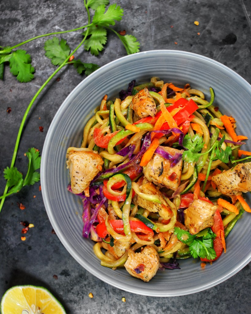Spicy Thai Peanut Chicken Zoodles in Skillet My Body My Kitchen