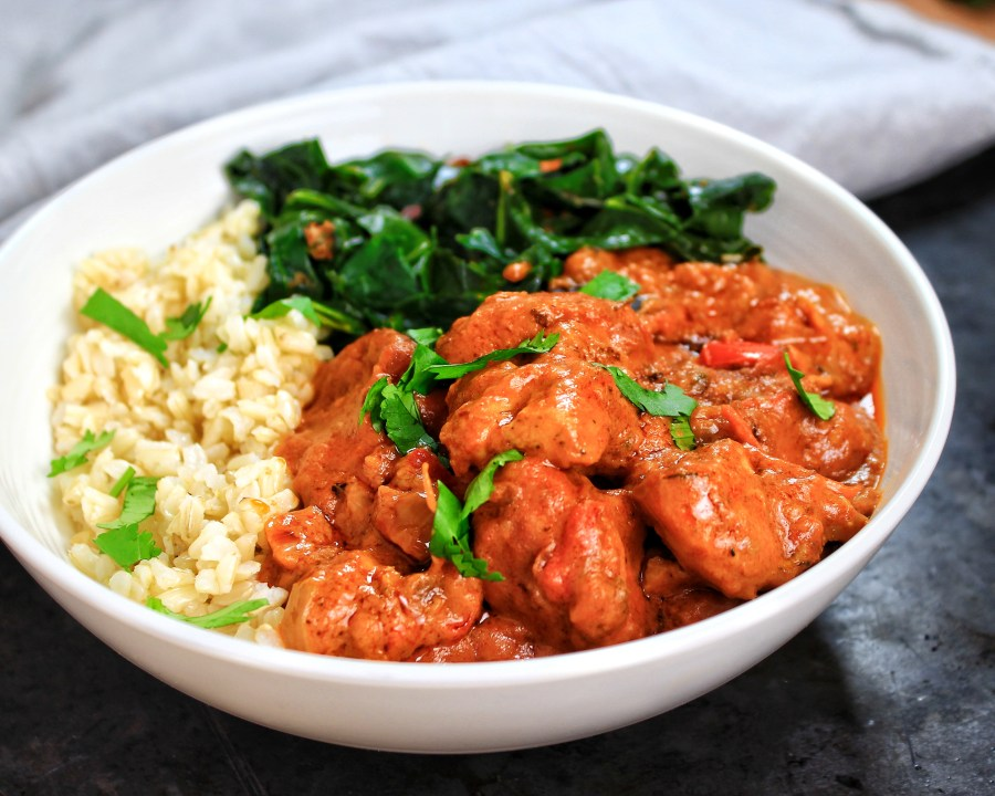 West African Chicken Peanut Stew (Mafe Poulet) with Collard Greens and Brown rice