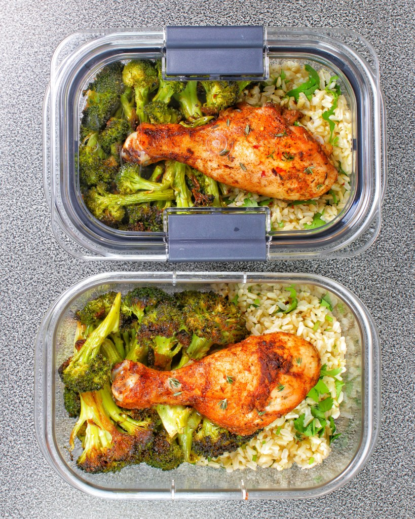 Meal prep - Roasted chicken, cilantro lime basmati rice, garlic roasted broccoli
