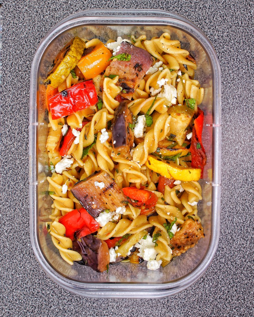 Lemon Herb Chickpea Pasta Feta Salad Grilled Vegetables My Body My Kitchen