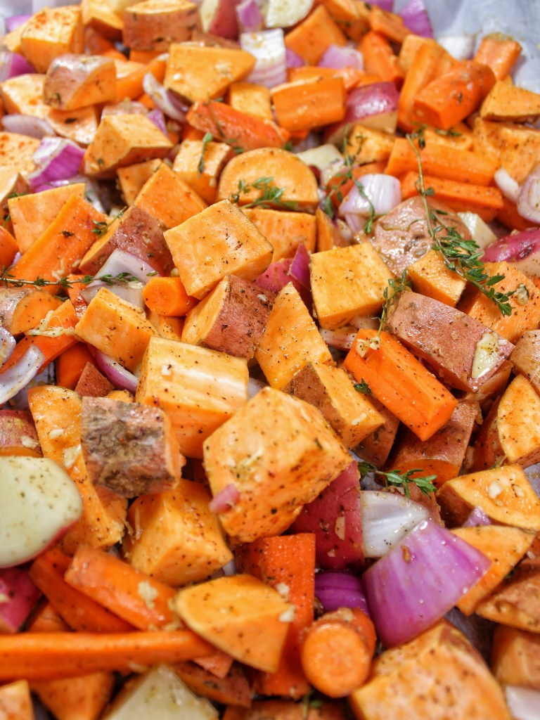 Ginger Roasted Root Vegetables - Carrots Beets Sweet Potatoes Onions Red Potatoes - My Body My Kitchen