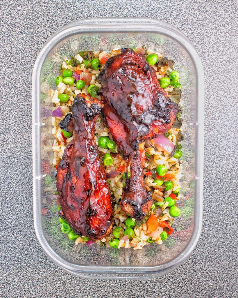 Meal Prep - Baked BBQ Chicken with Mint Peas Brown Rice - My Body My Kitchen