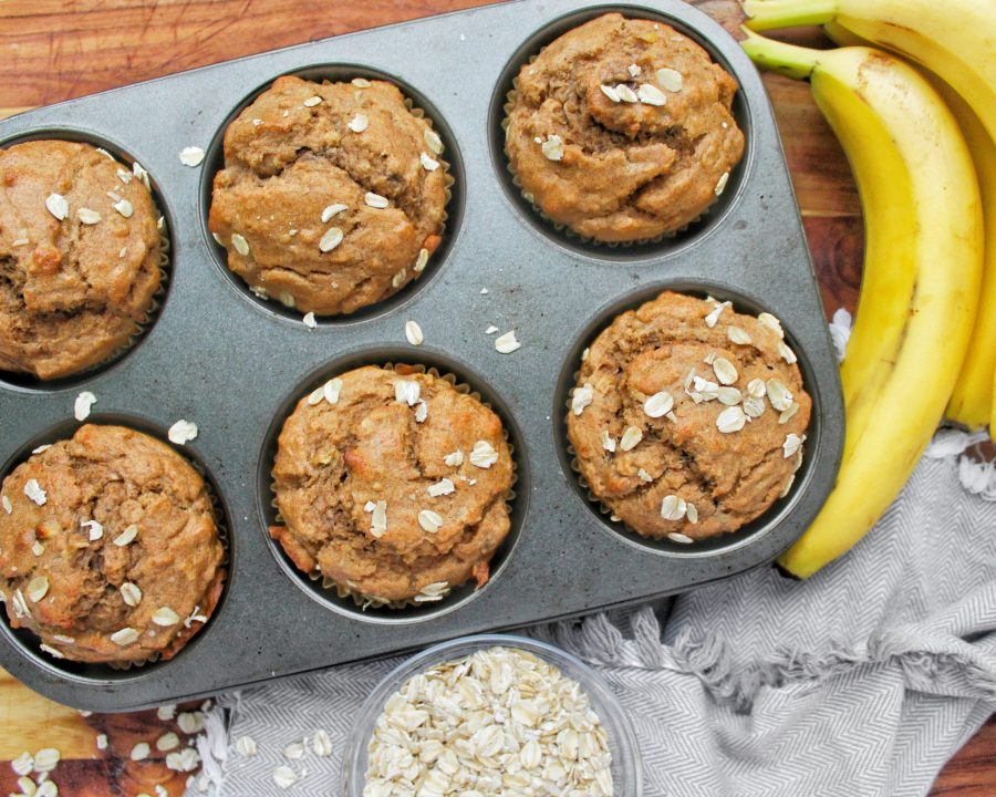 Whole Wheat Banana Peanut Butter Oat Muffins My Body My Kitchen