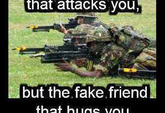 Don't fear the enemy that attacks you, but the fake friend that hugs you