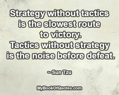 Strategy without tactics is the slowest route to victory. Tactics without strategy is the noise before defeat. ~ Sun Tzu