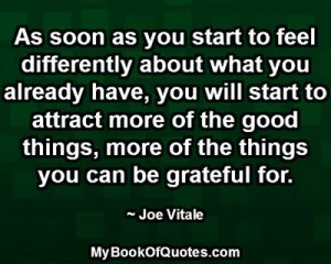 As soon as you start to feel differently about what you already have, you will start to attract more of the good things, more of the things you can be grateful for. ~ Joe Vitale