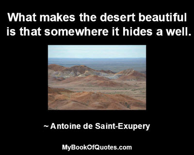 What makes the desert beautiful is that somewhere it hides a well. ~ Antoine de Saint-Exupery