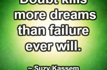 Doubt kills more dreams than failure ever will. ~ Suzy Kassem