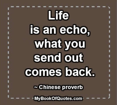 Life is an echo, what you send out comes back. ~ Chinese proverb