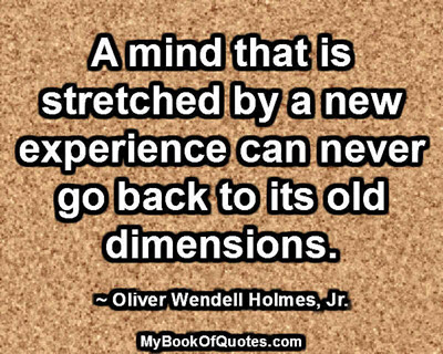 A mind that is stretched by a new experience can never go back to its old dimensions. ~ Oliver Wendell Holmes, Jr.