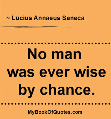 No man was ever wise by chance. ~ Lucius Annaeus Seneca