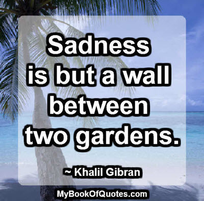 Sadness is but a wall between two gardens. ~ Khalil Gibran