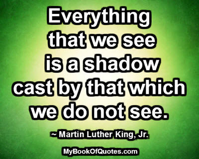 Everything that we see is a shadow cast by that which we do not see. ~ Martin Luther King, Jr.