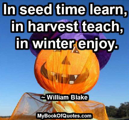 In seed time learn, in harvest teach, in winter enjoy. ~ William Blake