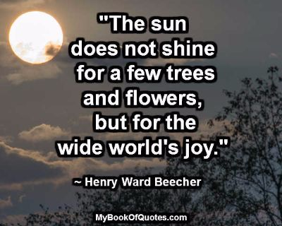 """""""The sun does not shine for a few trees and flowers, but for the wide world's joy."""" ~ Henry Ward Beecher"""