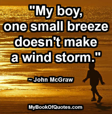"""My boy, one small breeze doesn't make a wind storm."" ~ John McGraw"