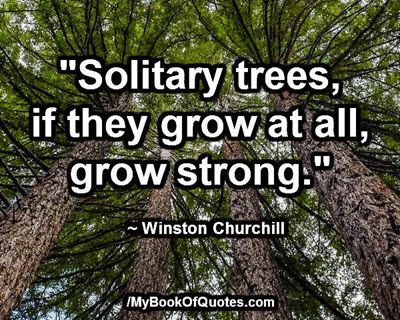 """""""Solitary trees, if they grow at all, grow strong."""" ~ Winston Churchill"""