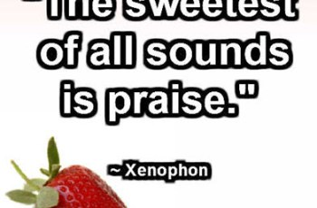 """The sweetest of all sounds is praise."" ~ Xenophon"