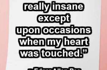 """I was never really insane except upon occasions when my heart was touched."" ~ Edgar Allan Poe"