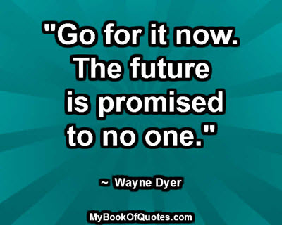 """""""Go for it now. The future is promised to no one."""" ~  Wayne Dyer"""