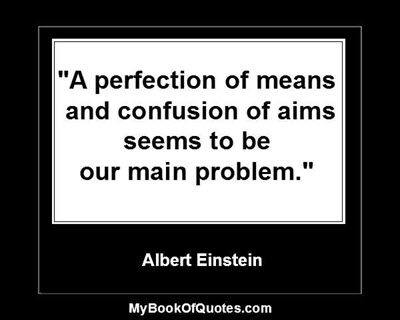 """""""A perfection of means, and confusion of aims, seems to be our main problem."""" ~ Albert Einstein"""