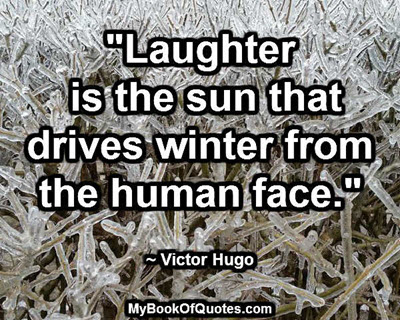 """""""Laughter is the sun that drives winter from the human face."""" ~ Victor Hugo"""