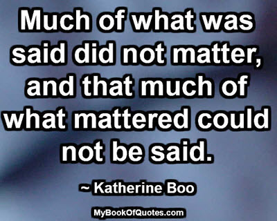What mattered