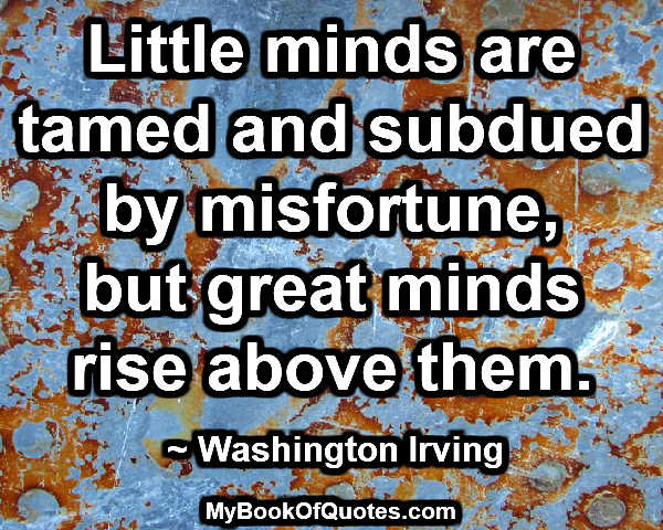 Little minds are tamed and subdued by misfortune, but great minds rise above them. ~ Washington Irving