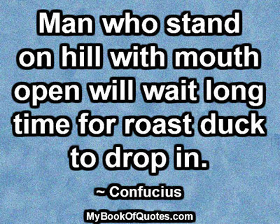 Man who stand on hill with mouth open will wait long time for roast duck to drop in. ~ Confucius