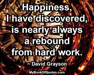 Happiness, I have discovered, is nearly always a rebound from hard work. ~ David Grayson