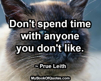 Don't spend time with anyone you don't like. ~ Prue Leith