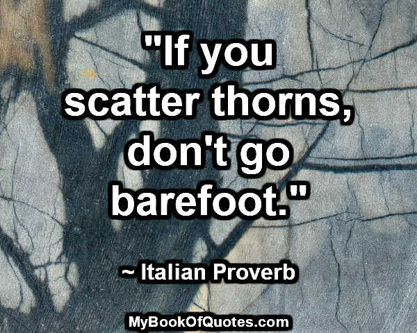 """If you scatter thorns, don't go barefoot."" ~ Italian Proverb"