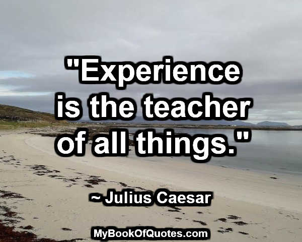 """Experience is the teacher of all things."" ~ Julius Caesar"