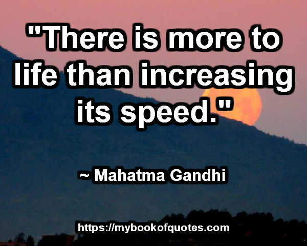 """""""There is more to life than increasing its speed."""" ~ Mahatma Gandhi"""