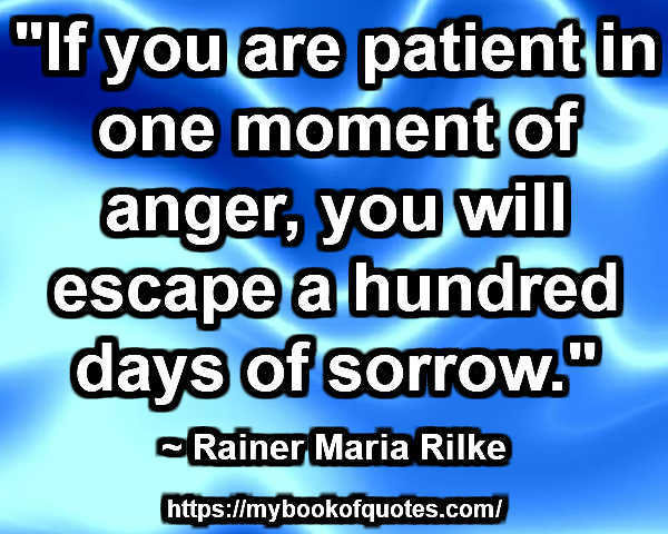 """""""If you are patient in one moment of anger, you will escape a hundred days of sorrow."""" ~ Rainer Maria Rilke"""