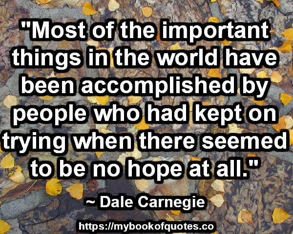 """Most of the important things in the world have been accomplished by people who had kept on trying when there seemed to be no hope at all."" ~ Dale Carnegie"