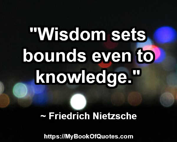 wisdom sets bounds