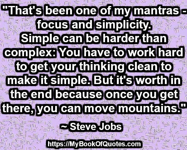 focus and simplicity
