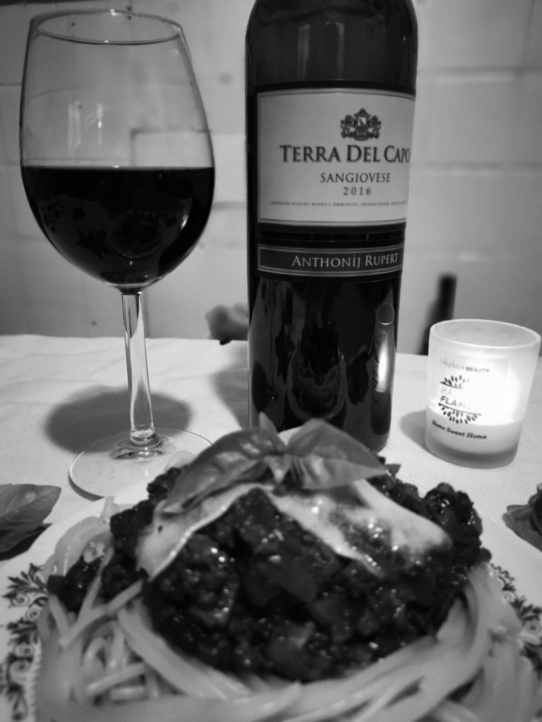 sangiovese Terra Del Capo paired with SpagBol