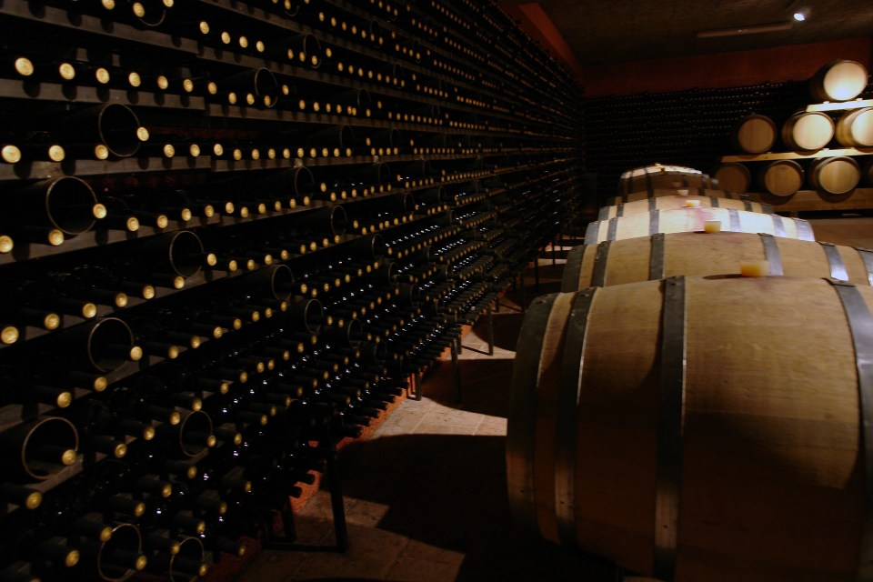 wine cellar with barrels and champagne bottles