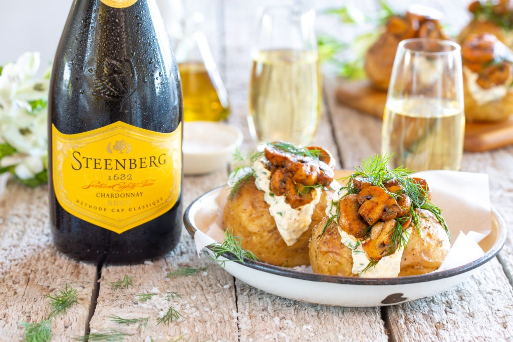 Baked Potatoes with Smoky Chipotle Mushrooms with Steenberg Brut MCC