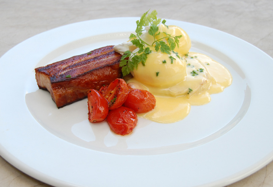 pork belly bacon with eggs Benedict with the smoothest hollandaise sauce