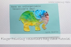 finger painting valentine's day card