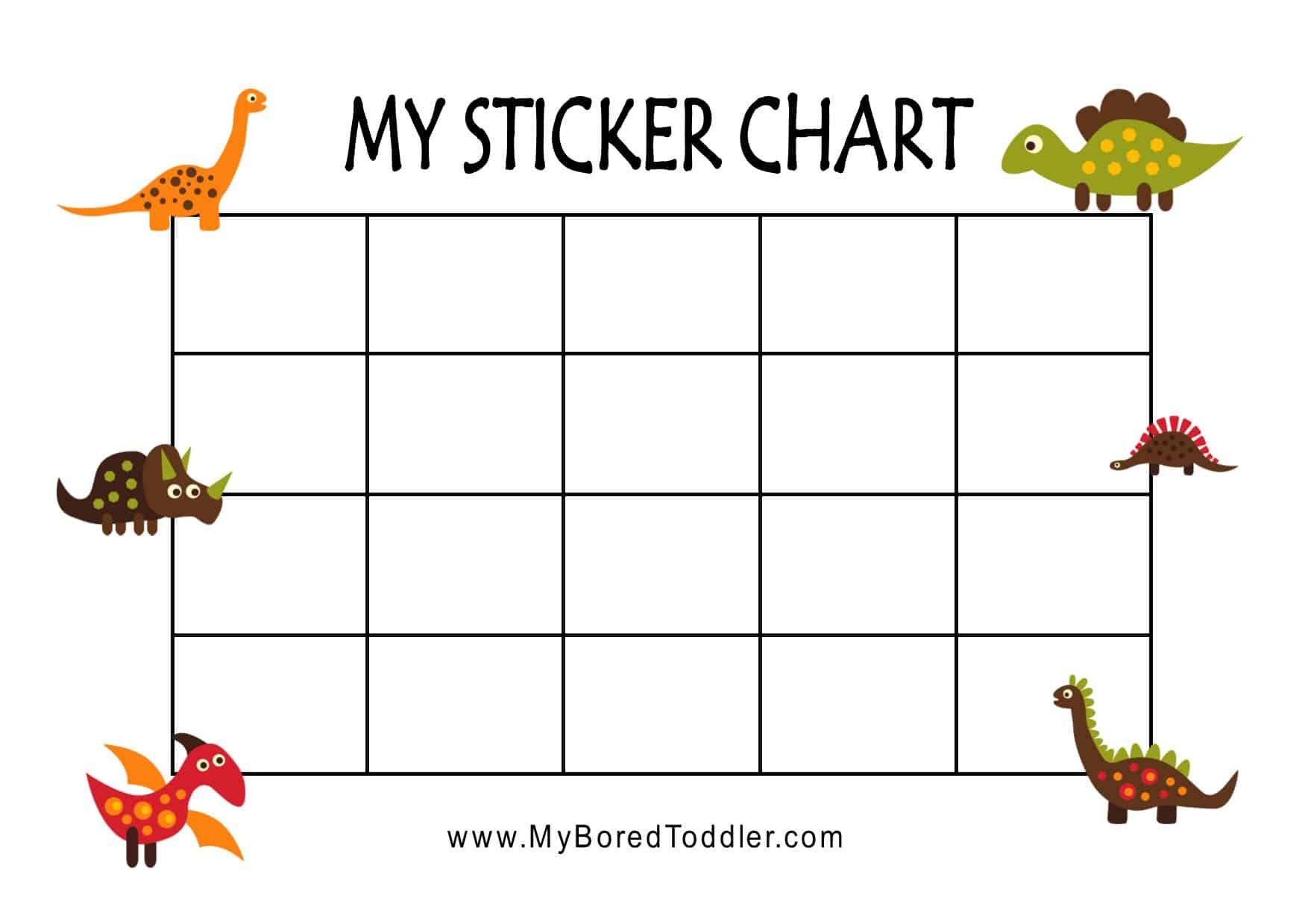 Dinosaur Printable Reward Chart Sticker Chart For Toddlers