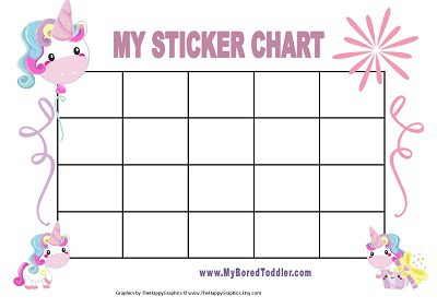 graphic relating to Printable Sticker Chart called UNICORN PRINTABLE Profit CHART FOR Babies - My Bored Infant