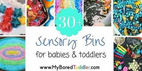 sensory bin ideas for babies and toddlers feature