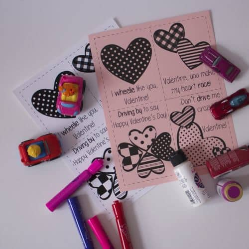 supplies for heart racing toddler valentines card activity