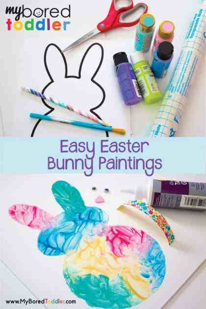 easy Easter bunny painting activity for toddlers. A great toddler activity for Easter