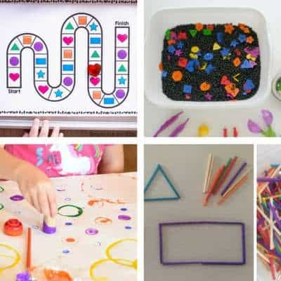 Shape activities for toddlers - shape board game, shape sensory sorting, shape painting, match stick shape activity for toddlers